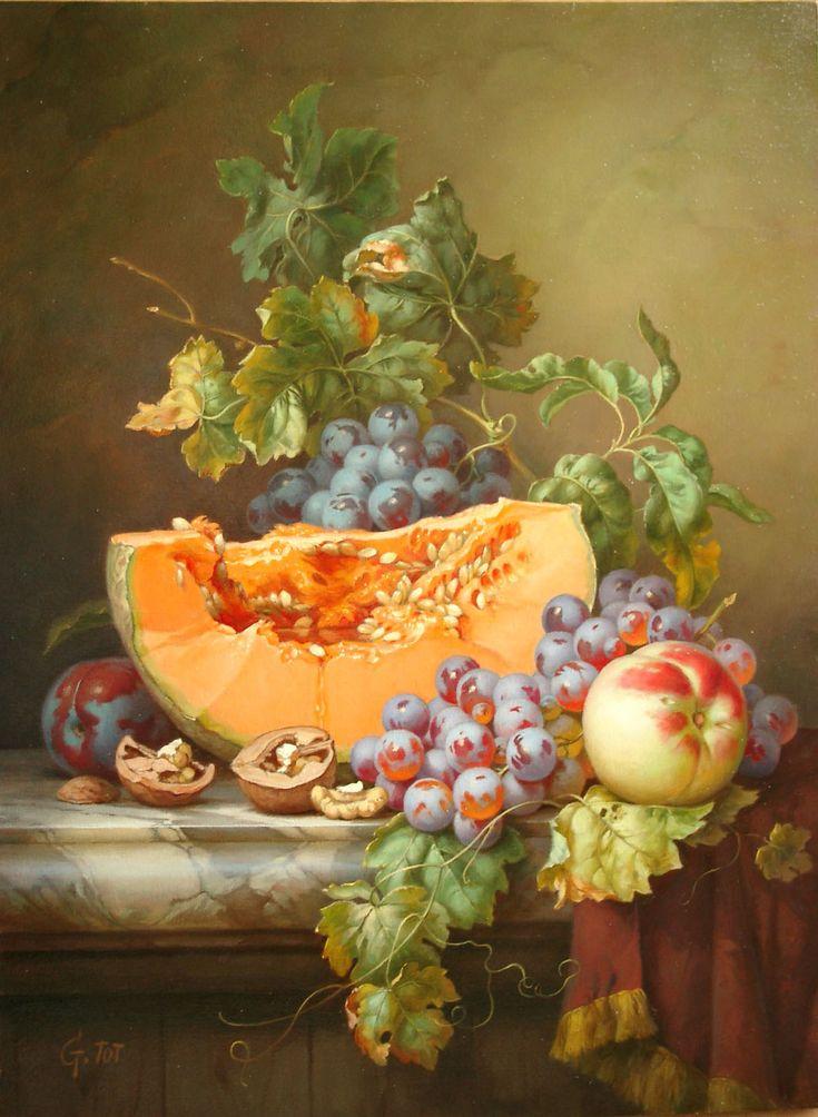 Still Life with Melon Gabor Toth, Hungarian artist