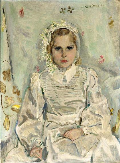 Jan Sluijters (1881-1957) - Meisje in communie jurkje