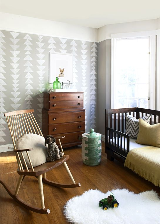 Toddler room: Toddlers Rooms, Wall Patterns, Rocks Chairs, Nurseries, Triangles, Baby, Kids Rooms, Stencil Wall, Accent Wall