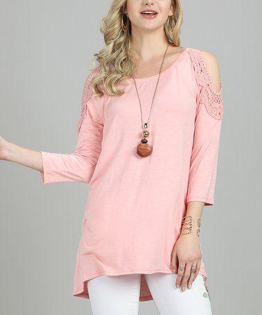 Powder Pink Shoulder-Cutout Tunic - Plus Too #zulily #zulilyfinds