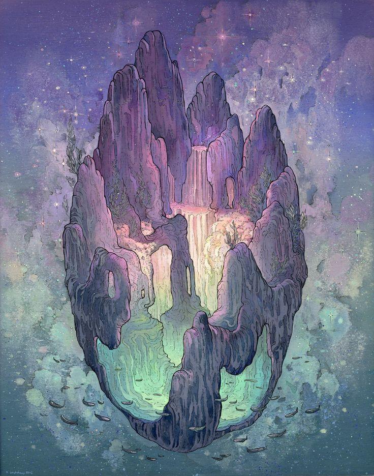 """Nicole Gustafsson cria ecossistemas futuristas, planetas com cachoeiras luminescentes, galáxias misteriosas e uma estranha realidade com duas ou mais luas. As ilustrações da artista são feitas com Acryla Guache aplicadas diretamente em painéis de madeira. As séries abaixo se chamam """"Celestial Spaces"""" e """"Fantastic Spaces"""", ambas foram inspiradas nos estudos da artista sobre o espaço (...)"""