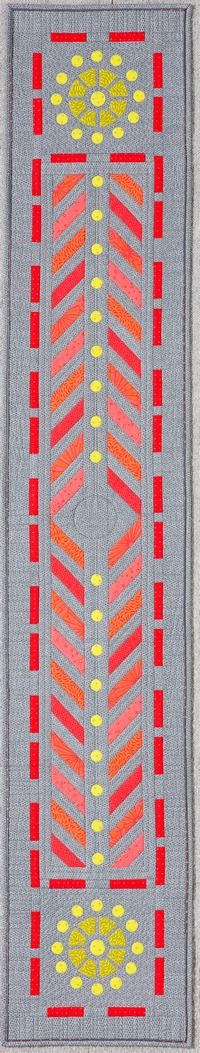 Grated Bed Runner, designed to use MM100 Templates. Pattern printed in Quilters Companion #84.