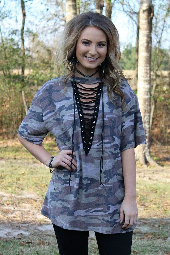 Fresh Take Camoflage Lace Up Tunic – Giddy Up Glamour Boutique