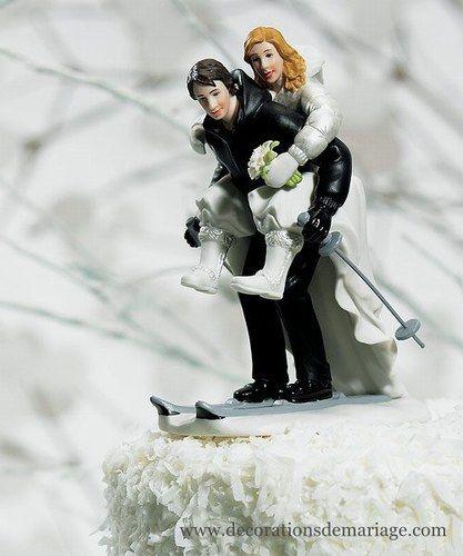 Figurine de pièce montée - Mariés à skis