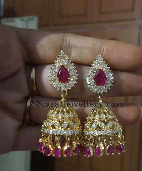 1 Gram Gold Jhumkas only 1400 Rupees - Jewellery Designs