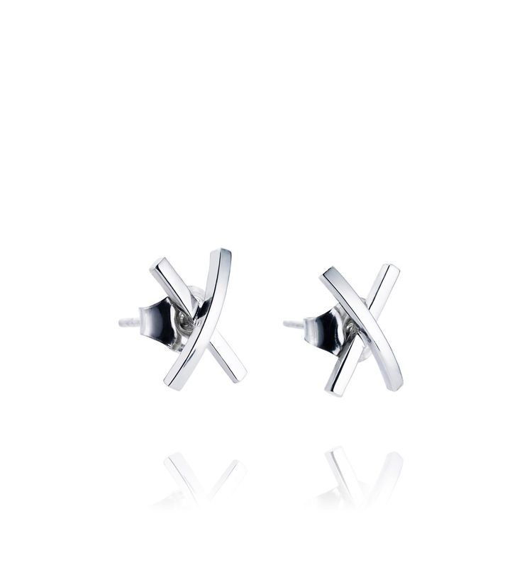 "Silver earrings shaped like an ""x"" as in ""xo"" (kisses and hugs) , a classic way…"