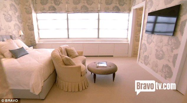 Pretty: Bethenny had the master bedroom wallpapered in French-style cream and duck egg blue