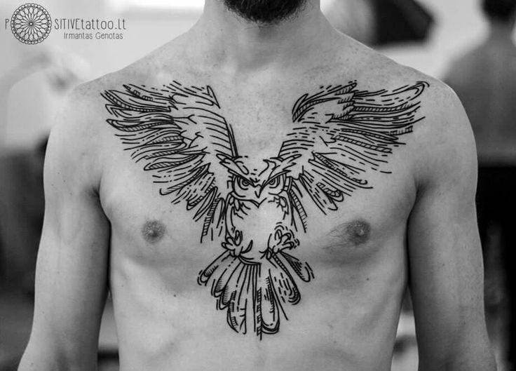 owl tattoo, linework tattoo, black and white tattoo, chest tattoo. Photo and work by Irmantas Tattoo, Positivetattoo studio, Vilnius, Lithuania