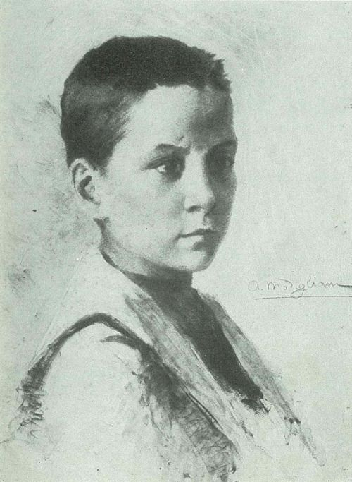 Self portrait of Amadeo Modigliani at his age of 15