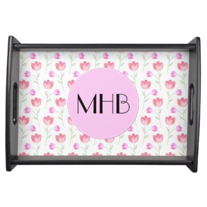 Monogram - Flowers Leaves Plant Stems - Pink Serving Tray - floral style flower flowers stylish diy personalize