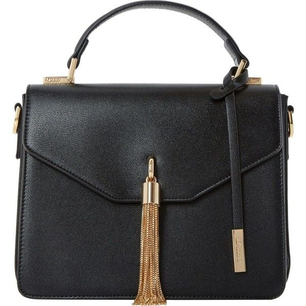 Dune Delina top handle bag ($48) ❤ liked on Polyvore featuring bags, handbags, shoulder bags, handle bag, handle handbag, top handle handbags, tassel purse and top handle purse