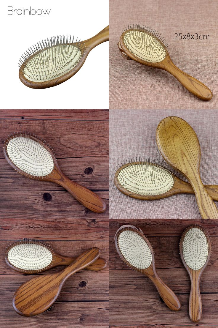 [Visit to Buy] 1pc Anti-static Wood Massager Hair Brus Hair Styling  Salon Natural Wooden Paddle Airbag Cushion Handle Brush with Steel Needle  #Advertisement