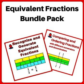 Equivalent Fractions Worksheets Bundle.  Learn to generate and recognize simple equivalent fractions and apply equivalent fractions concept to compare and arrange unlike fractions.  Based on Singapore math curriculum. Fractions wall and visual pictorial model are provided to help student visualize and understand abstract concept.