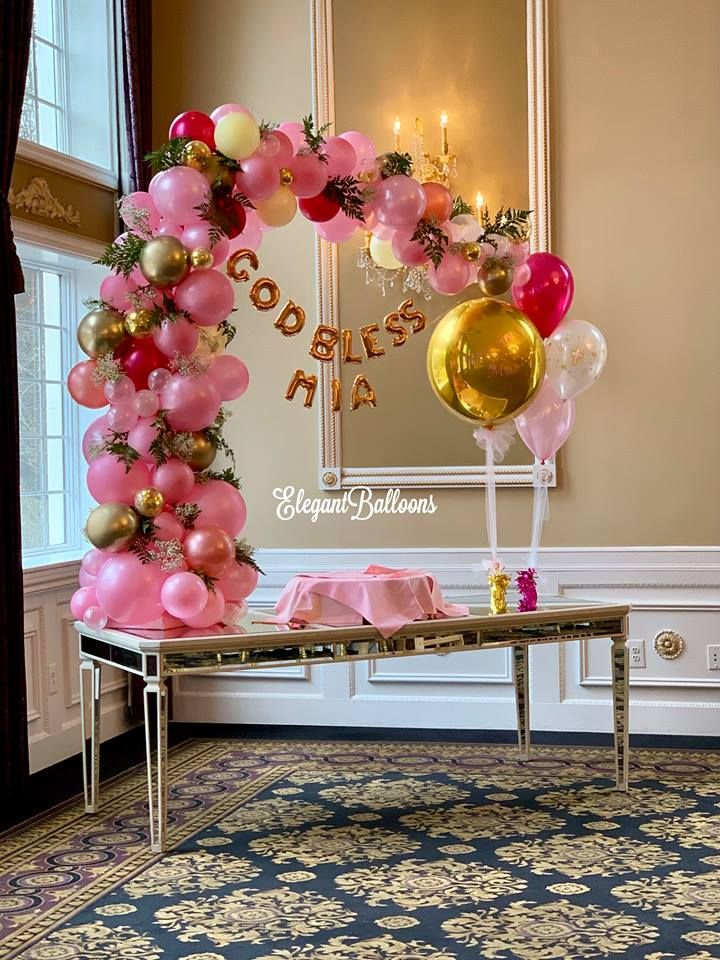 Organic Balloon 1 2 Arch Cake Table By Elegantballoons Balloon Decorations Birthday Party Theme Decorations Balloons