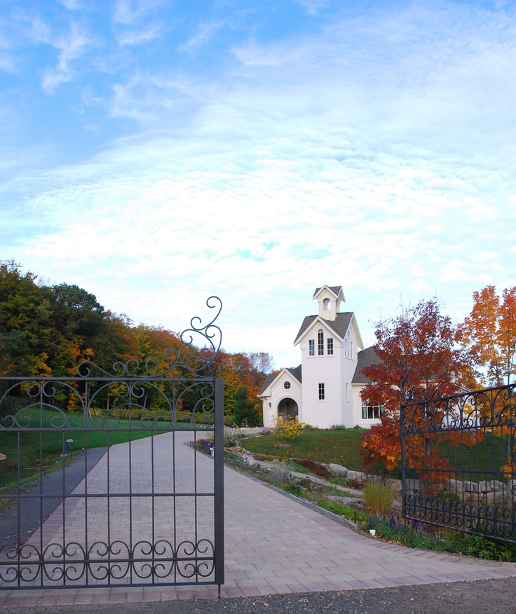 Through the gate to Angels Gate Winery in Beamsville, Ontario. The property was once owned by the Congregation of Missionary Sisters of Christian Charity.