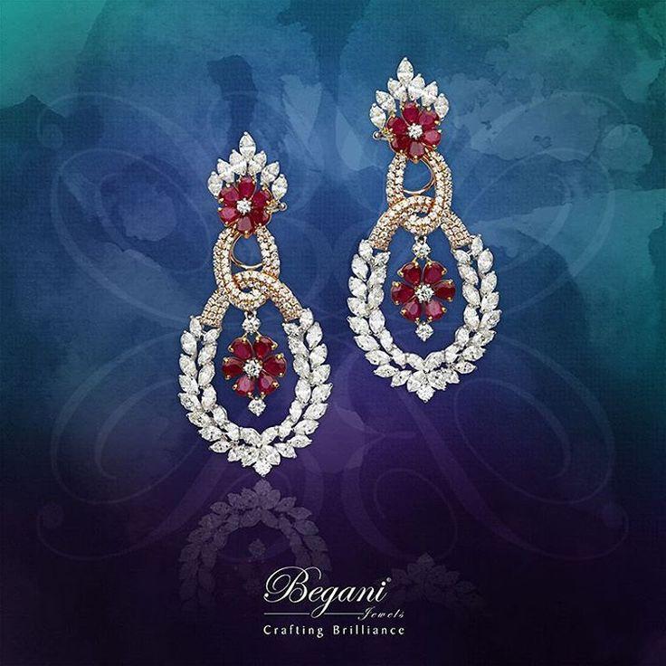 """Dress up your ears with these charming natural ruby and diamond earrings"" #diamonds #diamondjewelry #jewelry #luxuryjewelry #finejewelry #beautiful #elegantjewelry #ruby #rubyjewelry #begani_jewels"