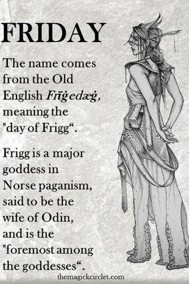 """Friday"" means ""day of Frigga."" She was a Norse goddess and mother of Baldur.  At Baldur's birth, she made everything in her kingdom swear not to hurt Baldur. She forgot to make the mistletoe take this pledge, however, and that was Baldur's undoing. Read all about the mistletoe and the myth surrounding it here: http://landscaping.about.com/cs/winterlandscaping1/a/mistletoe.htm"