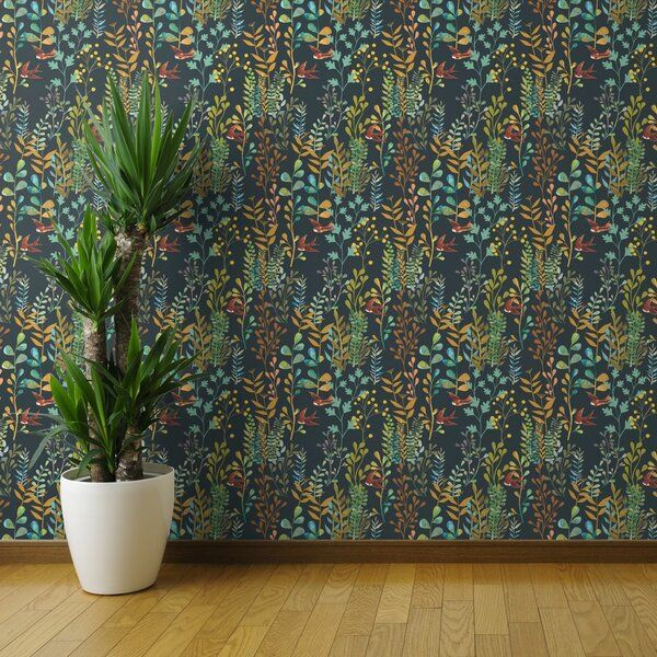 Our Peel And Stick Wallpaper Is A Woven Textured Polyester Fabric With An Adhesive Backing It Is Peel And Stick Wallpaper Botanical Wallpaper Brick Wallpaper