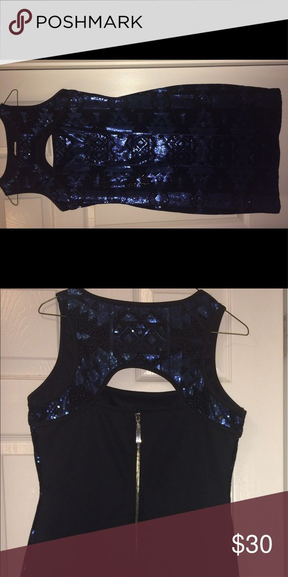 Blue & Black Sequin Dress Sparkly sleeveless black and blue sequin dress. 💙🖤 Nice fit and very flattering on the curves! 😉 Dresses Midi