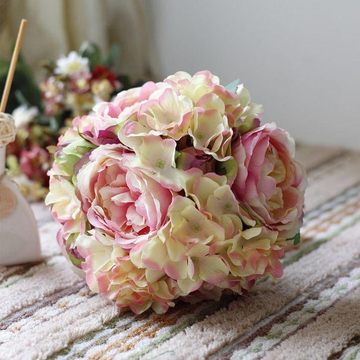 nieuwe klassieke roze pioen hortensia boeket kunstbloemen bal bruidsmeisje/bruid boeket bruiloft bloemen(China (Mainland))