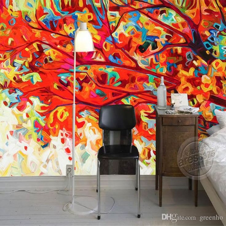 Abstract painting wallpaper colorful trees wall murals 3d for Abstract mural wallpaper