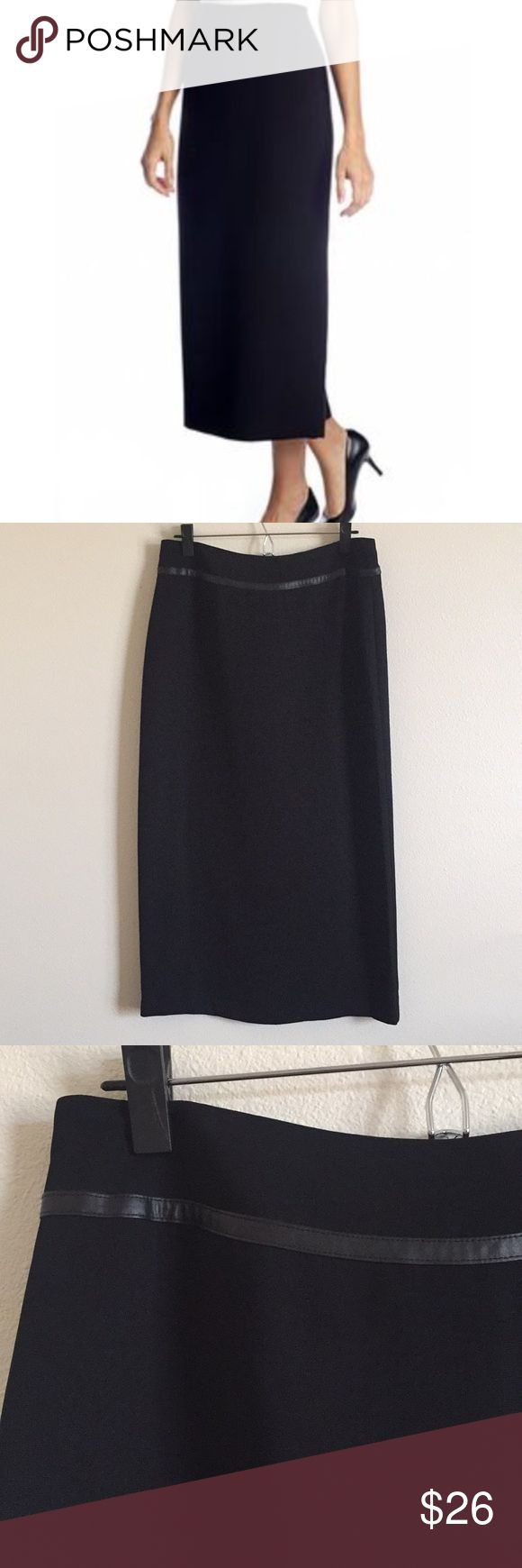 """Emma James Faux Leather Trim Long Pencil Skirt Like new condition. Super versatile. Sexy edge with faux leather trimming. Fully lined. Waist measures 15"""" across. Length is 34"""". Emma James Skirts Pencil"""