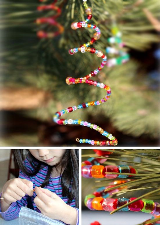 Homemade Beaded Christmas Tree Ornaments | Click for 25 DIY Christmas Crafts for Kids - pine one trees, paint stick snowman, sock snowmen