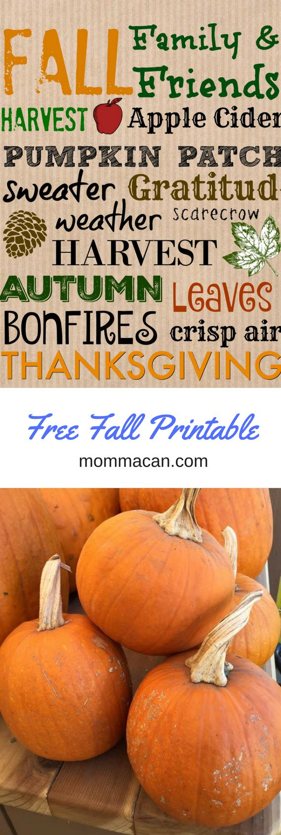 Grab your free fall printable in two sizes. Cute Fall Subway Art is a simple and economical way to jazz up your home for fall. And it is totally free to down load and pring.