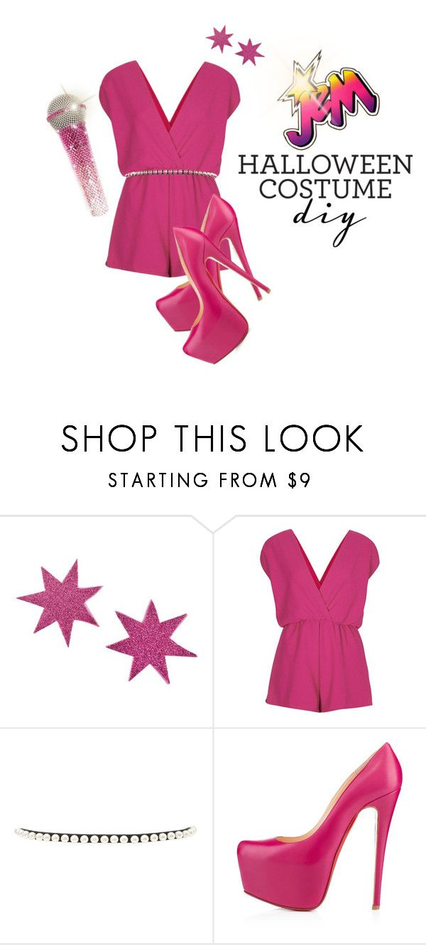 """Jem Costume"" by darksyngr ❤ liked on Polyvore featuring JEM, Rare London, Forever 21, Christian Louboutin, jem and halloweencostume"