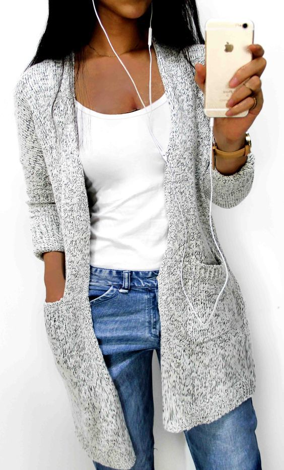 Start from $33.99 ! High-quality with low price. Women's Going out Street chic Long Solid Gray V Neck Long Sleeve Cotton Spring / Fall Medium Sweaters Cardigan is a total must-have this fall for any fashionista! That style is so in and the color too!  Collect more now at CHICNICO!