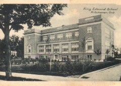 King Edward School: Originally called Agnes Street School, the first building was replaced by this structure and re-named to honor the late King Edward VII. It is at the corner of King Street West and Agnes Street.