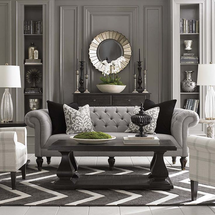 Elegant Sofas Living Room Part - 50: Our Beautiful New Chesterfield Sofa. Grey Walls Living RoomLiving ...