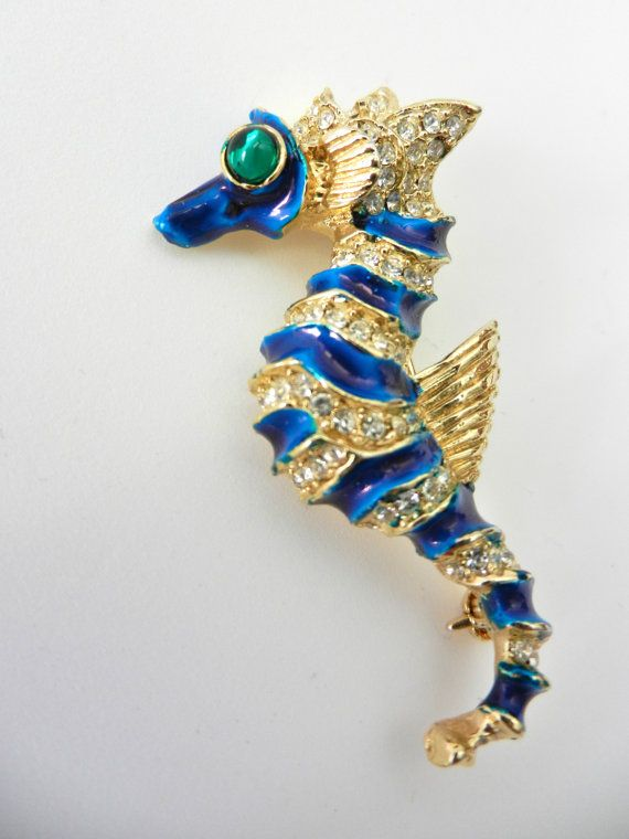 Adorable seahorse brooch  signed Patti Boulaye  by RAKcreations