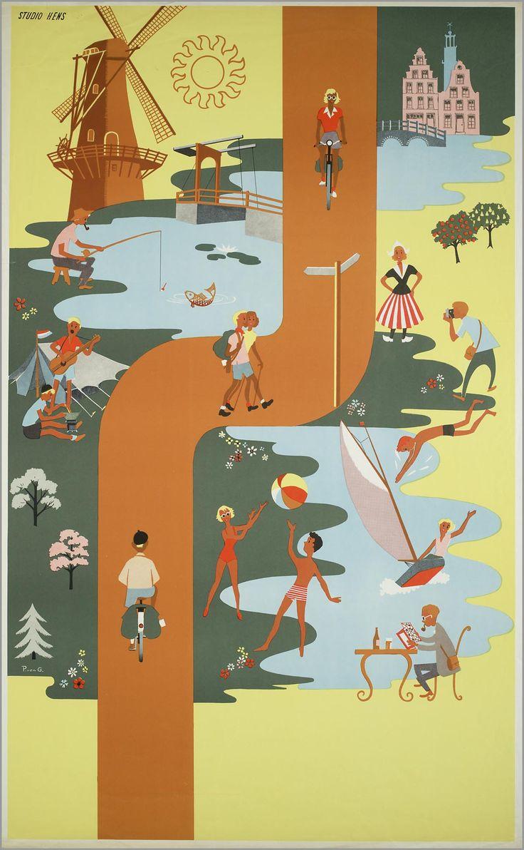 Vintage travel beach poster , Holland: vissen, wandelen, watersport. 1940s - www.varaldocosmetica.it/en