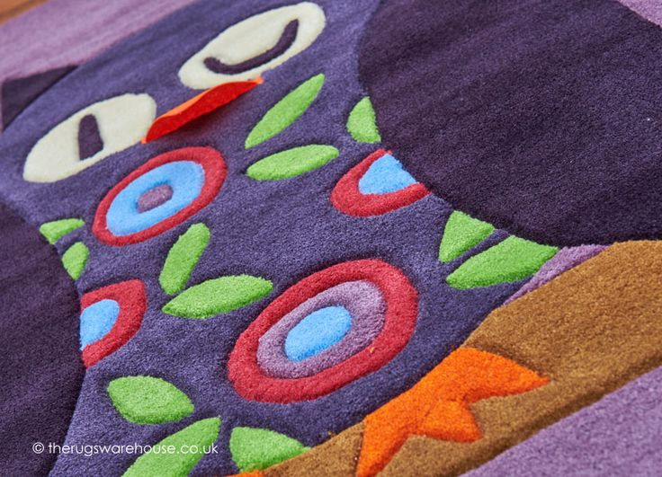 Night Owl Rug (texture close up), an owl themed kids' rug (hand-tufted, main colour: purple, 100% espirelle acrylic) http://www.therugswarehouse.co.uk/kids-rugs/night-owl-rug.html #rugs #kidsrugs