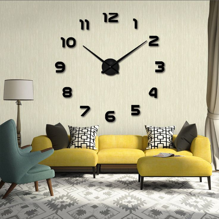 Large Diy Wall Personalized Arabic Number Novelty Clock Retro Home Bedroom Decor