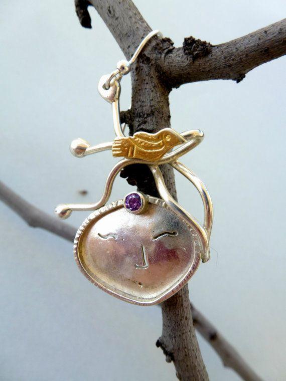 Art Sterling Silver Earrings - Who's that girl, romantic elegant earrings, Fall colors, Autumn trends