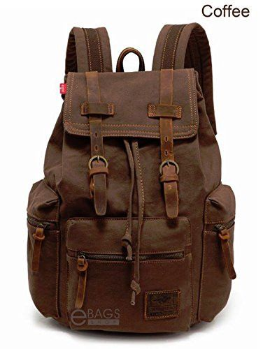 Travel Canvas Leather Sport Rucksack Camping Satchel Laptop Hiking Bag Backpack Dark Brown Coffee  #backpack #fashion #shoulderbags #WomenWallets #bagshop #Happy4Sales #YLEY #L09582 #bag #highschool #handbags #kids