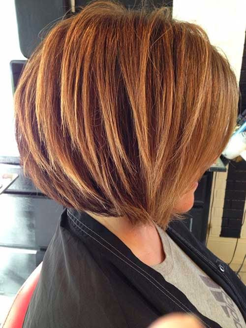 Stacked Bob Haircut with Blonde Highlights                                                                                                                                                      More