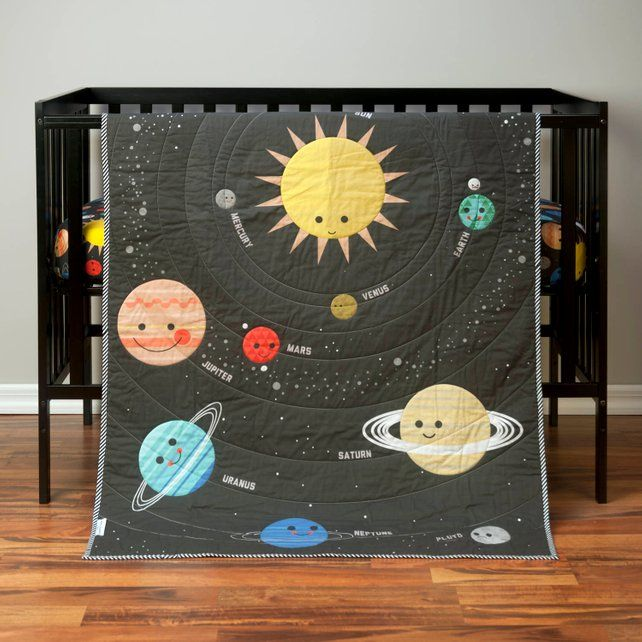 Outer Space Crib Quilt Solar System Baby Blanket Planet Crib