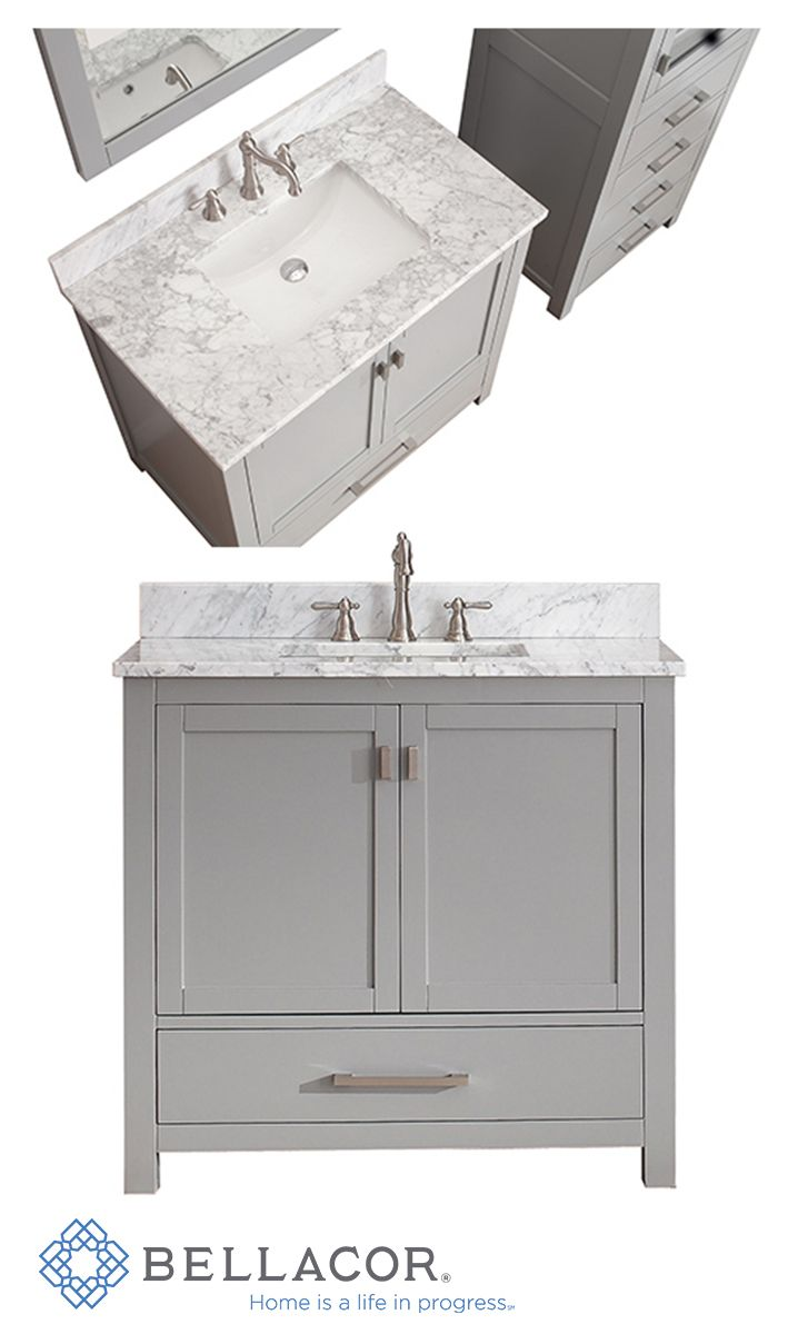 The Modero 36-Inch vanity has a simple clean design with a chic gray finish and brushed nickel hardware. The vanity combo includes a Carrera white marble top and white vitreous china undermount sink. Add the coordinating mirror, mirrored storage cabinet or linen tower to complete the look of your bathroom. http://www.bellacor.com/productdetail/avanity-modero-vs36-cg-c-modero-chilled-gray-36-inch-vanity-combo-with-white-carrera-marble-t-1570498.htm?partid=social_pinterestad_1570498_collage