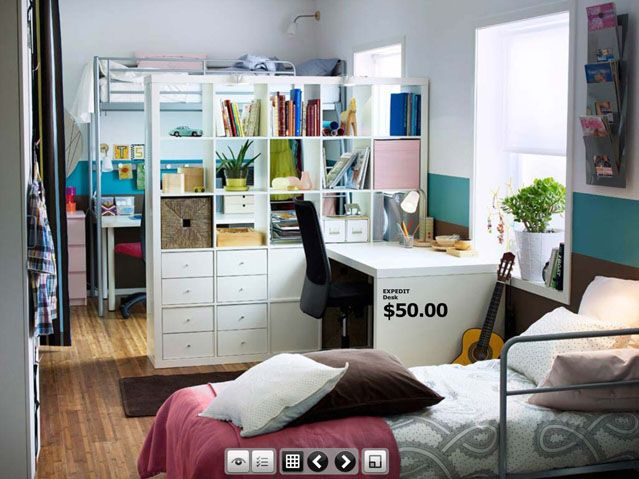 Super Cool IKEA Dorm Room Design Inspirations : Amazing White Serene IKEA Dorm Room with White IKEA Expedit Table and Wooden Floor