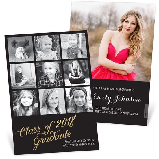 Glittering Grad Graduation Announcements