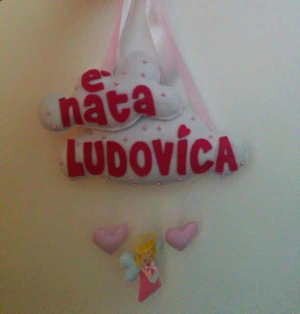 #fattoamano #pannolenci #feltro #fioccodinascita #personalizzare #angelo #ludovica