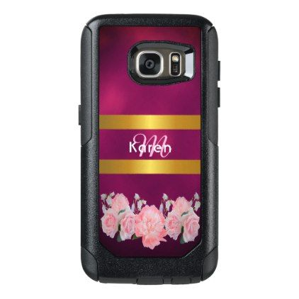 Pretty pink flowers gold burgundy monogrammed OtterBox samsung galaxy s7 case - pink gifts style ideas cyo unique