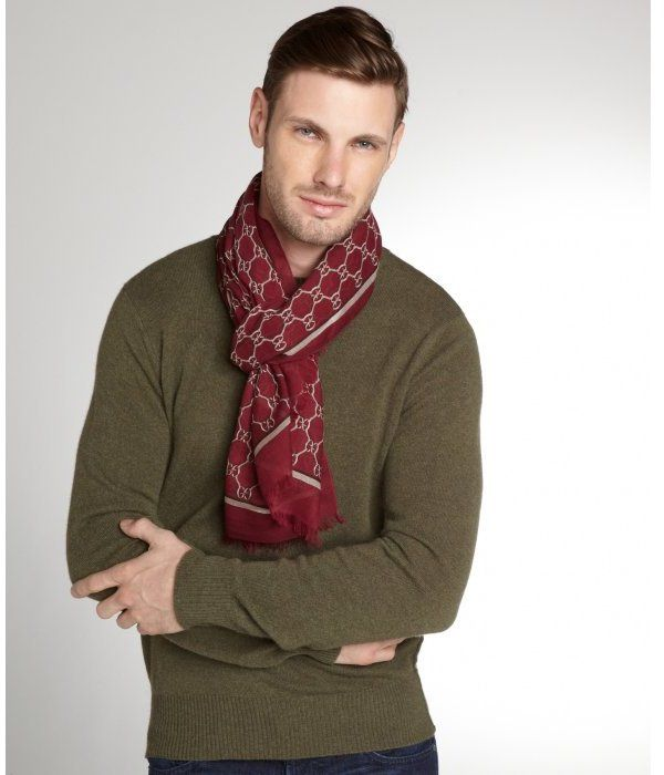 Burgundy Print Scarf by Gucci. Buy for $455 from Bluefly