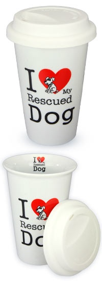 I Love My Rescued Dog Ceramic Travel Mug at The Animal Rescue Site