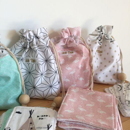 Cadeau ensemble Pochette coton et Lingettes lavables, modèle Scandinave gris et…