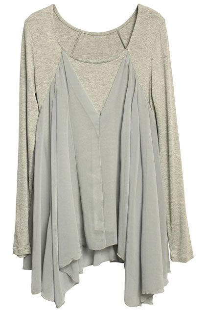 ROMWE | Asymmetric Chiffon Grey T-shirt, The Latest Street Fashion #Romwe