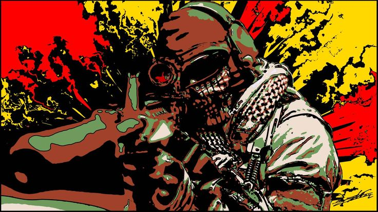 Tableau peinture acrylique moderne pop art coloré sniper fusil assaut arme militaire soldat camouflage